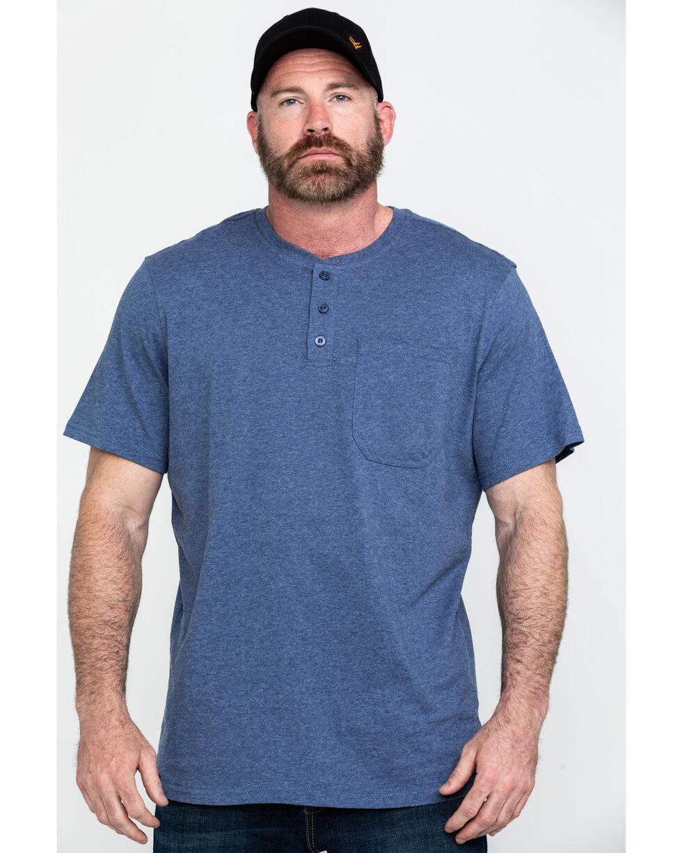 Hawx Men's Pocket Henley Short Sleeve Work T-Shirt , Heather Blue, hi-res