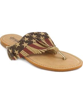Shyanne® Women's USA Fringe Sandals, Red/white/blue, hi-res