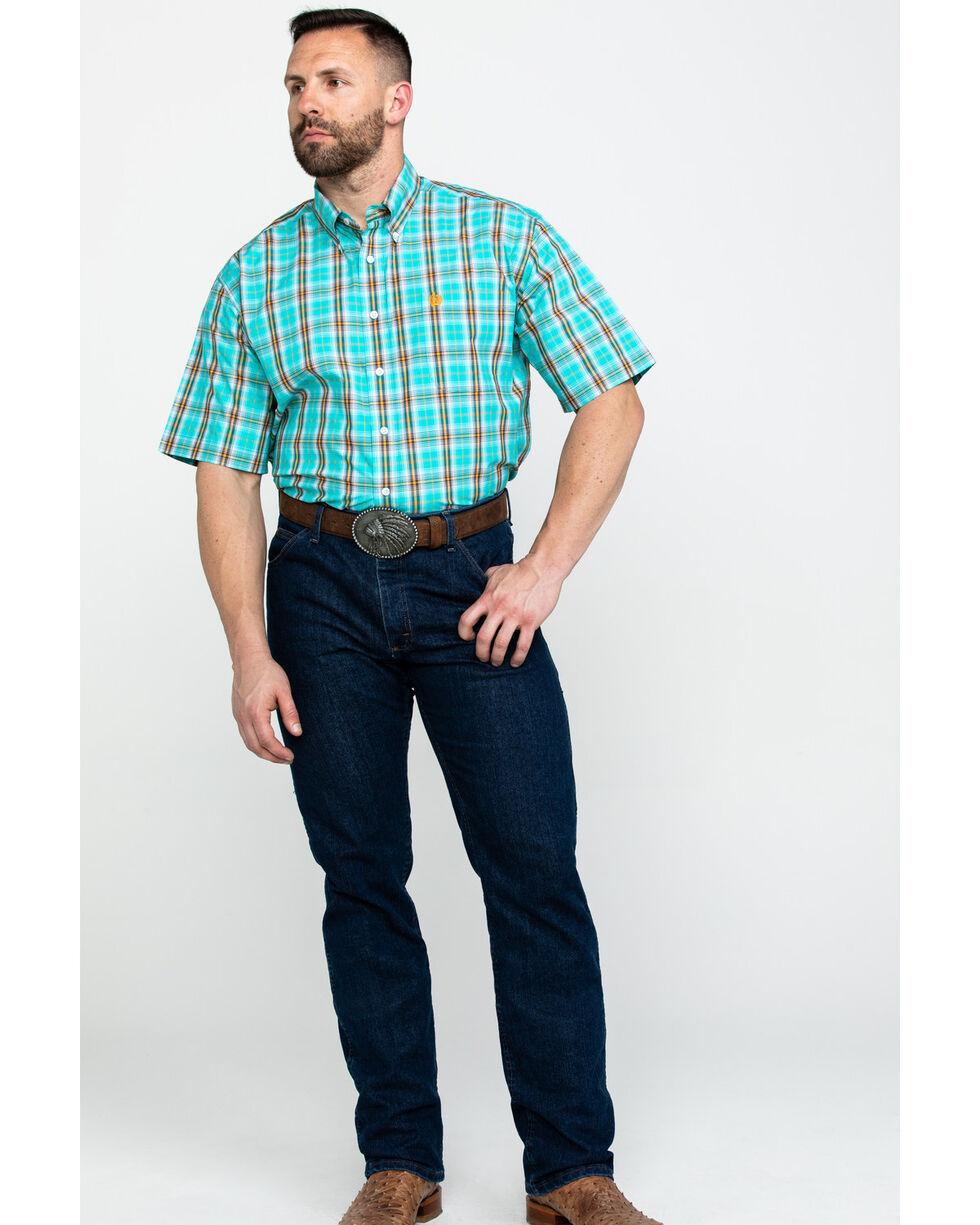 Cinch Men's Turquoise Plaid Short Sleeve Western Shirt  , Turquoise, hi-res