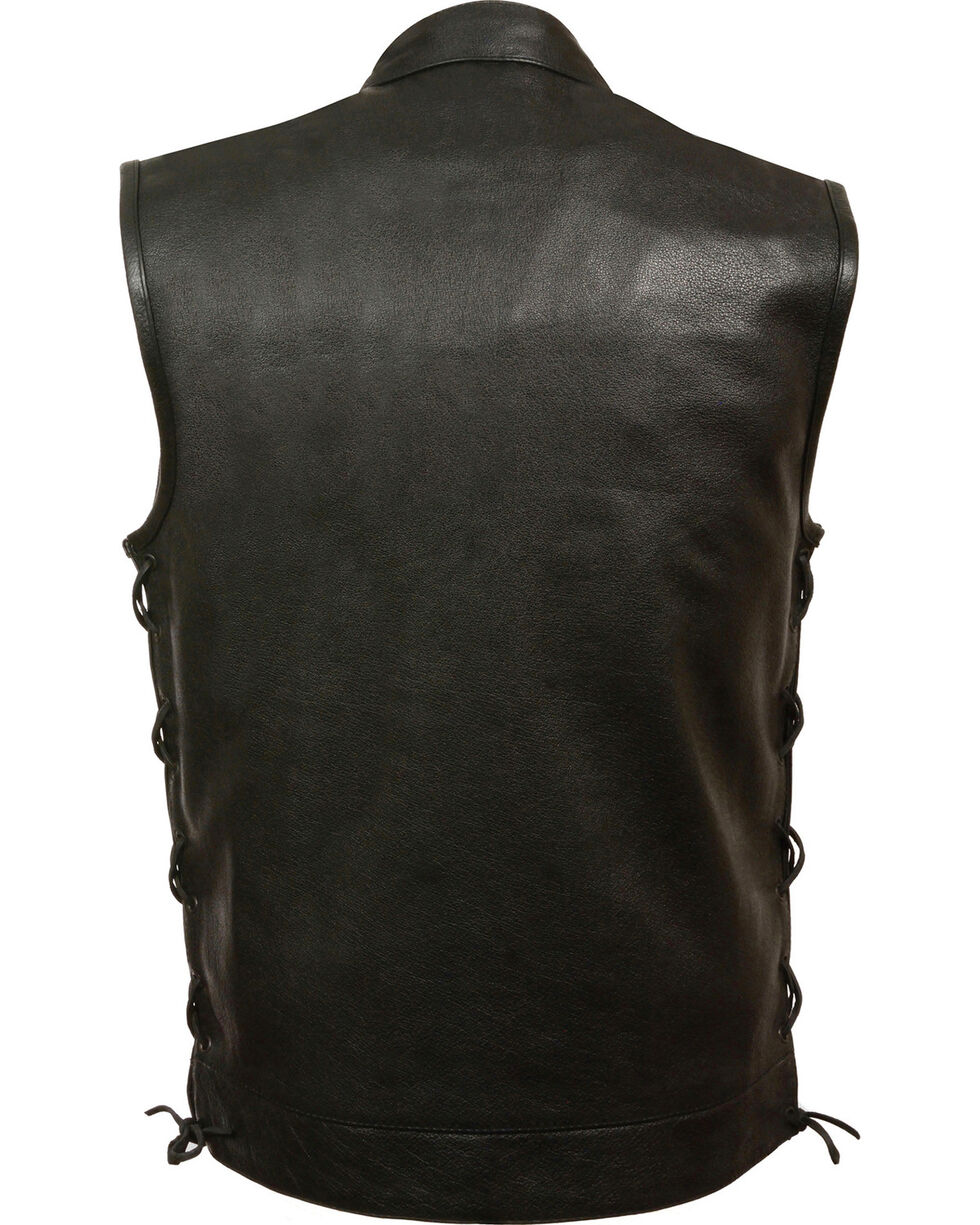 Milwaukee Leather Men's Side Lace Snap/Zip Front Club Style Vest - Big - 5X, Black, hi-res