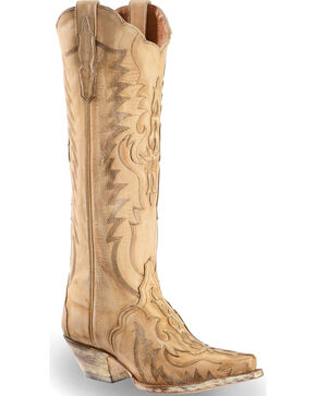 "Dan Post Women's Rustic Bone Overlay 15"" Western Boots - Snip Toe, Cream, hi-res"