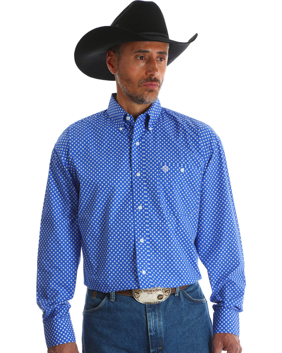 George Strait by Wrangler Men's Blue Long Sleeve Western Shirt , Blue, hi-res