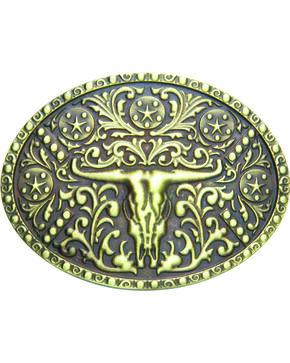 AndWest Men's Brass Steer Skull Oval Belt Buckle, Brass, hi-res