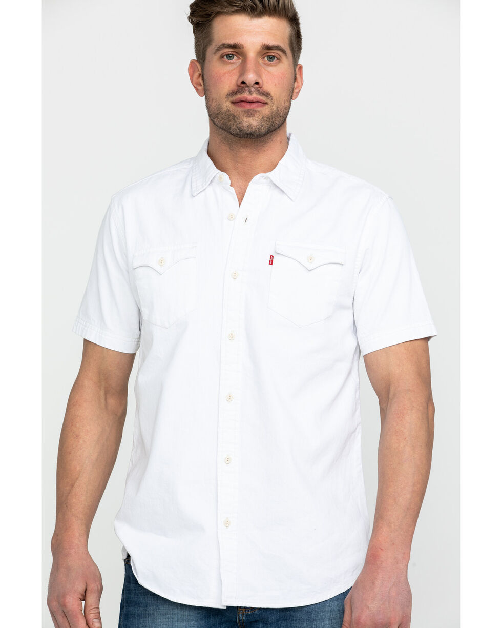 Levis Men's White Nevin Denim Short Sleeve Western Shirt , White, hi-res