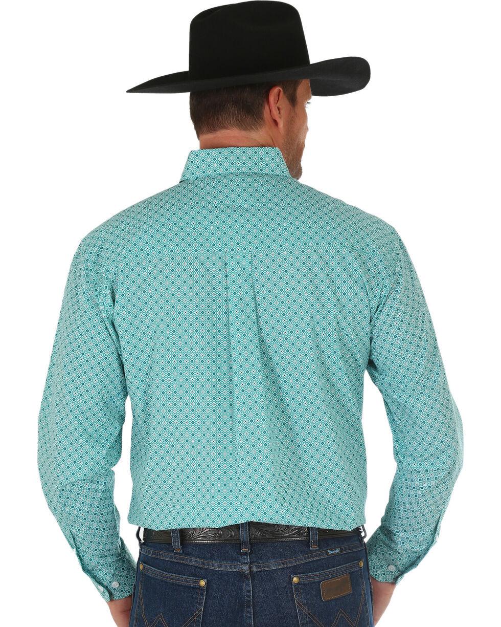 Wrangler Men's Turquoise Classic Geo Print Shirt , Turquoise, hi-res
