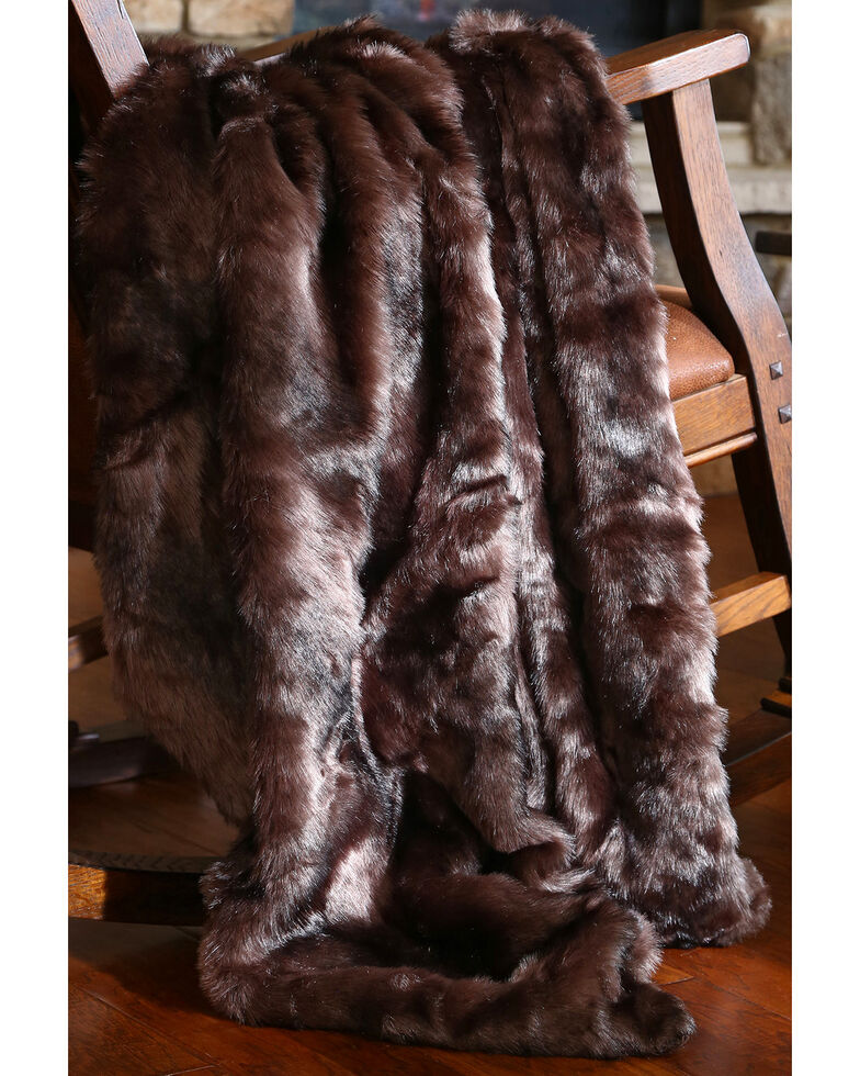 Carstens Brown Bear Fur Throw Blanket, Brown, hi-res