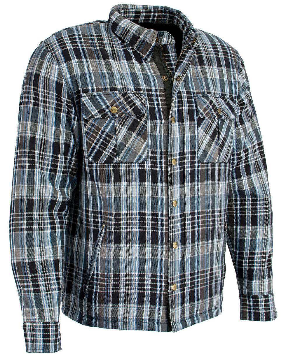 Milwaukee Performance Men's Black/White/Blue Aramid Flannel Biker Jacket, Black/blue, hi-res