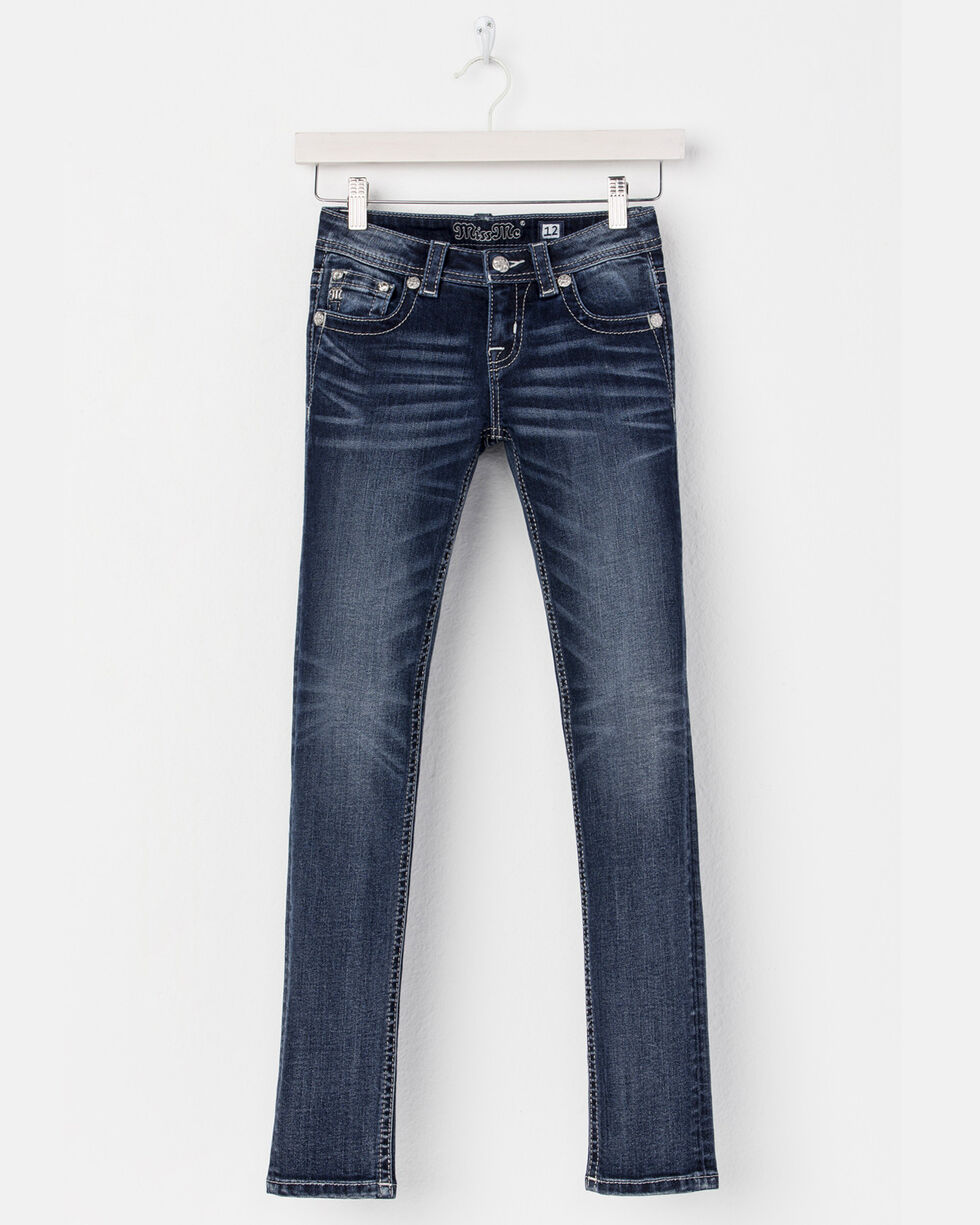 Miss Me Girls' Reach For The Stars Boot Cut Jeans - (7-14), Blue, hi-res
