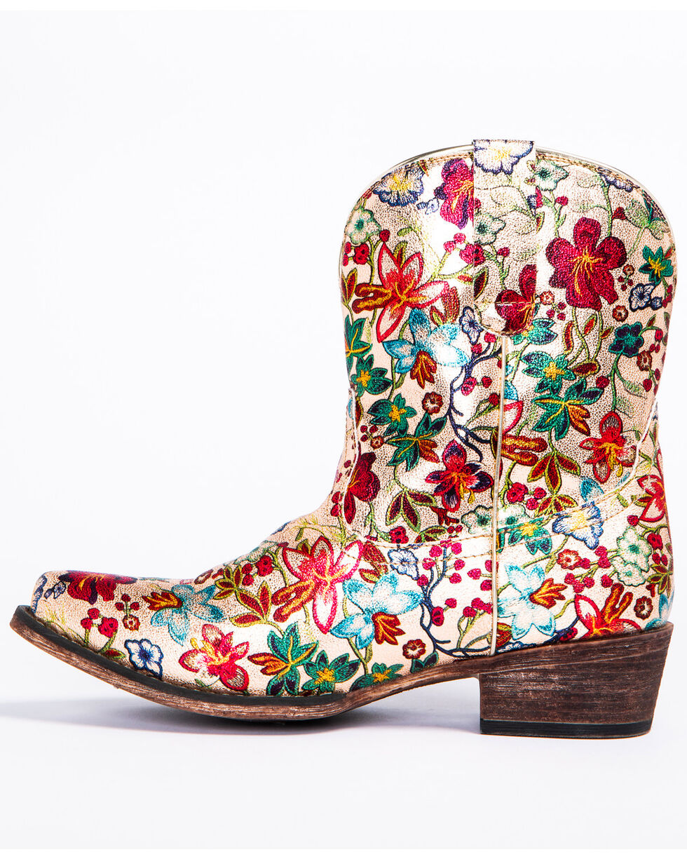 Roper Women's Ingrid Floral Western Boots - Snip Toe, Multi, hi-res