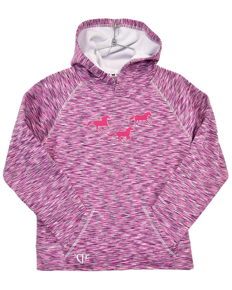Cowgirl Hardware Girls' Pink Marled Embroidered Horse Hooded , Pink, hi-res