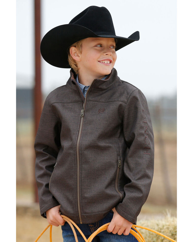 Cinch Boys' Textured Bonded Jacket , Brown, hi-res