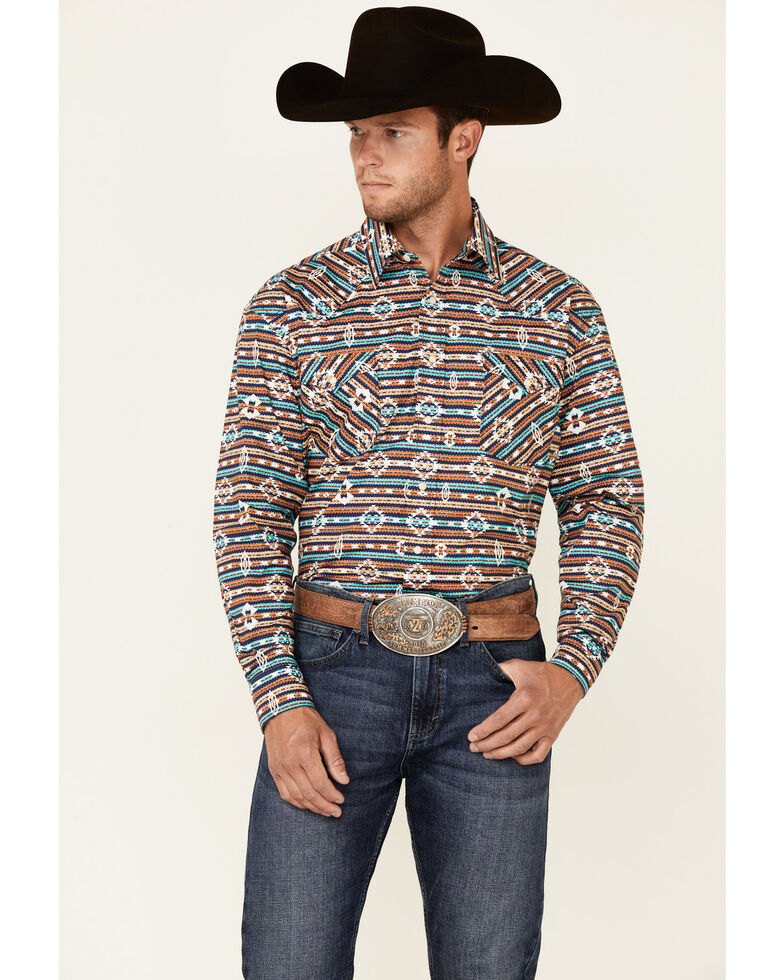 Rough Stock By Panhandle Men's Taupe Aztec Print Long Sleeve Snap Western Shirt , Taupe, hi-res