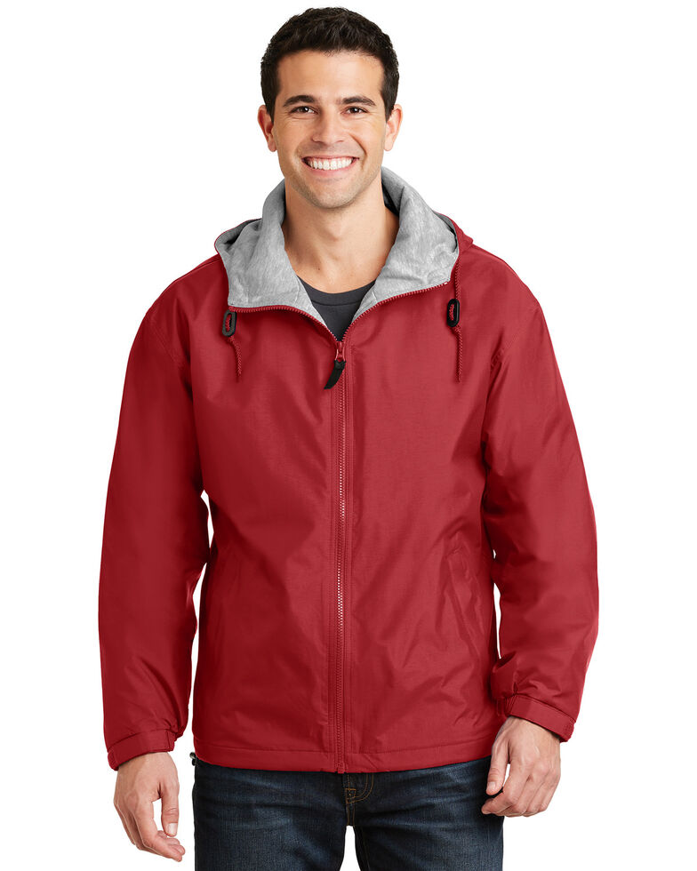 Port Authority Men's Red Oxford Team Hooded Work Jacket, Red, hi-res