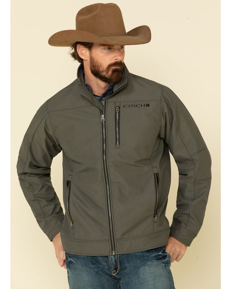 Cinch Men's Olive Logo Textured Softshell Bonded Jacket , Olive, hi-res