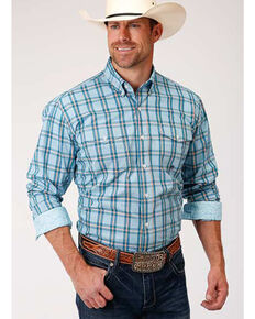 Amarillo Men's Oasis Cold Creek Plaid Long Sleeve Western Shirt , Blue, hi-res