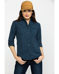 Carhartt Women's Navy Rugged Flex Bozeman Shirt, Navy, hi-res