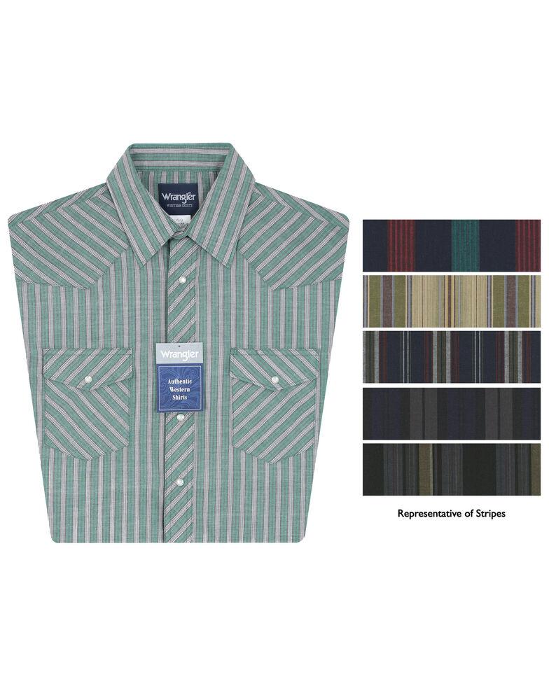 Wrangler Men's Assorted Short Sleeve Plaid Western Shirt, Stripe, hi-res