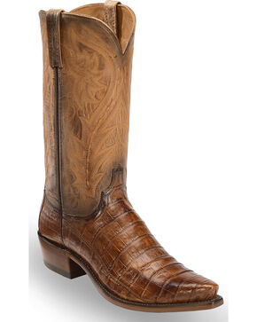 Lucchese Men's Tan Bernie Caiman Belly Western Boots - Snip Toe , Tan, hi-res