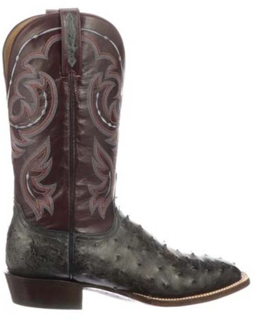 Lucchese Men's Harris Full-Quill Ostrich Western Boots - Wide Square Toe, Dark Grey, hi-res