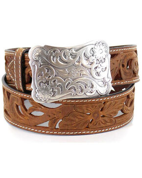 Angel Ranch Women's Filigree Cutout Belt, Tan, hi-res