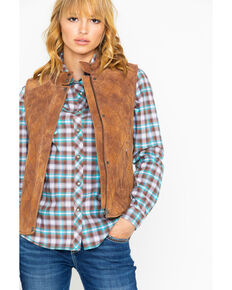 Cripple Creek Women's Quilted Zip Snap Front Vest , Chestnut, hi-res