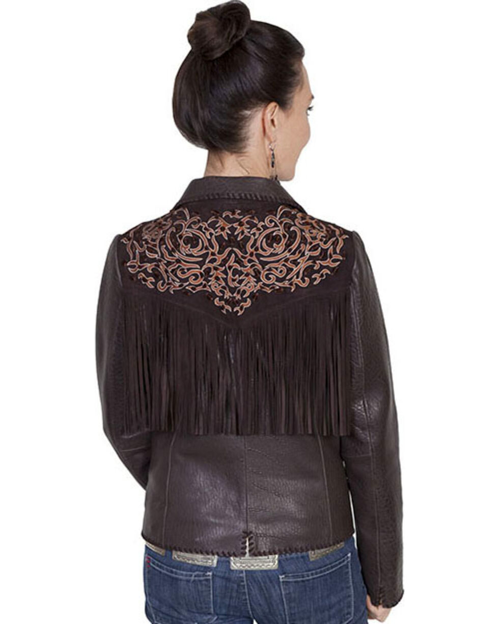 Scully Leatherwear Rugged Lamb Fringe Jacket , Dark Brown, hi-res