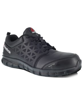 Reebok Men's Black Sublite Cushion Work Boots - Alloy Toe, Black, hi-res