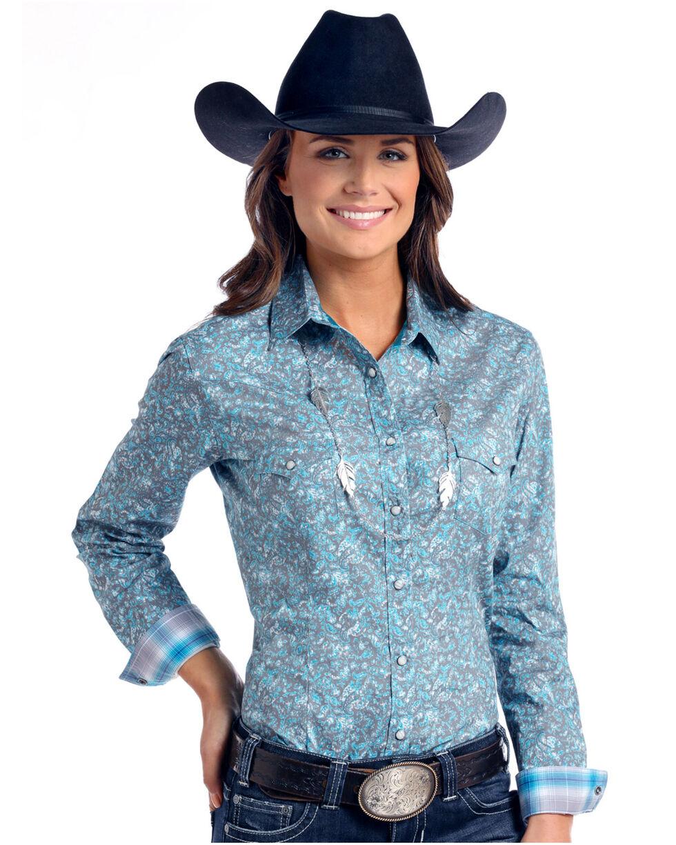 Rough Stock by Panhandle Women's Lavaca Vintage Print Long Sleeve Western Shirt, Multi, hi-res