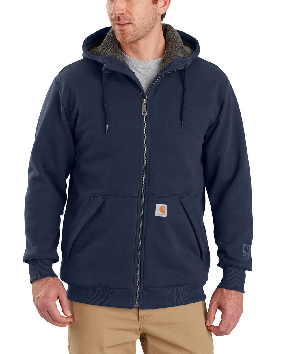 Carhartt Men's Rain Defender Rockland Sherpa-Lined Full-Zip Hoodie, Navy, hi-res