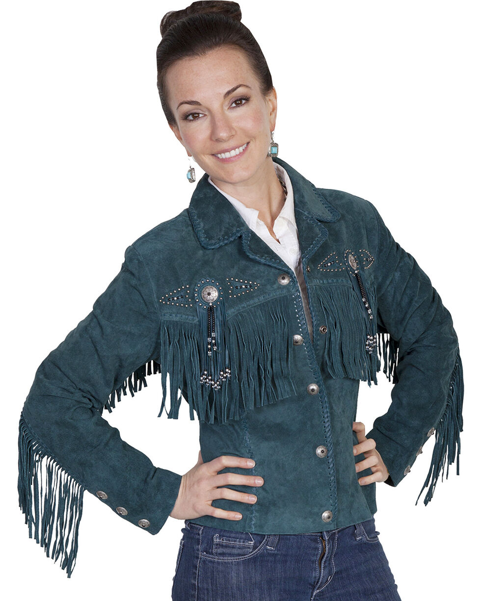 Scully Women's Teal Western Suede Fringe Jacket - Extended Sizes , , hi-res