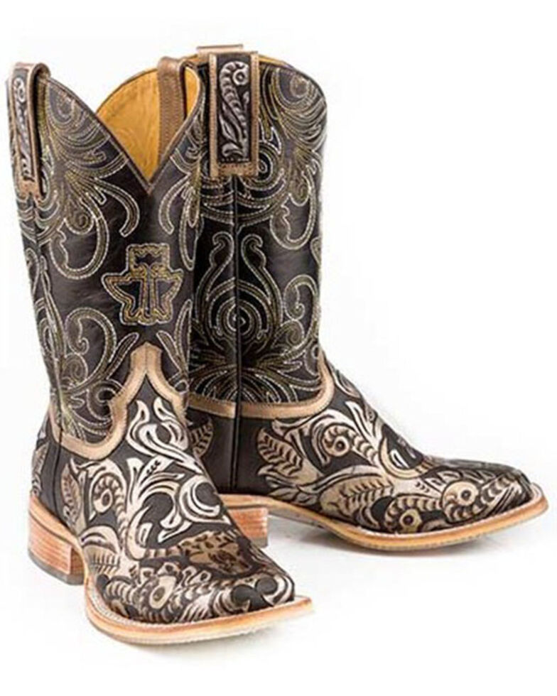 Tin Haul Women's Golden Horns Western Boots - Wide Square Toe, Brown, hi-res