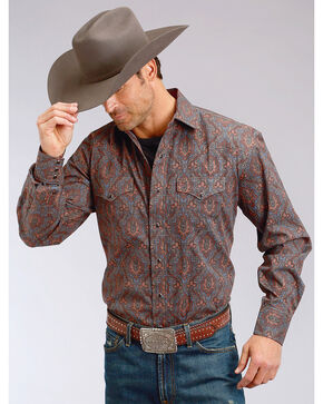 Stetson Men's Paisley Print Long Sleeve Snap Shirt, Grey, hi-res