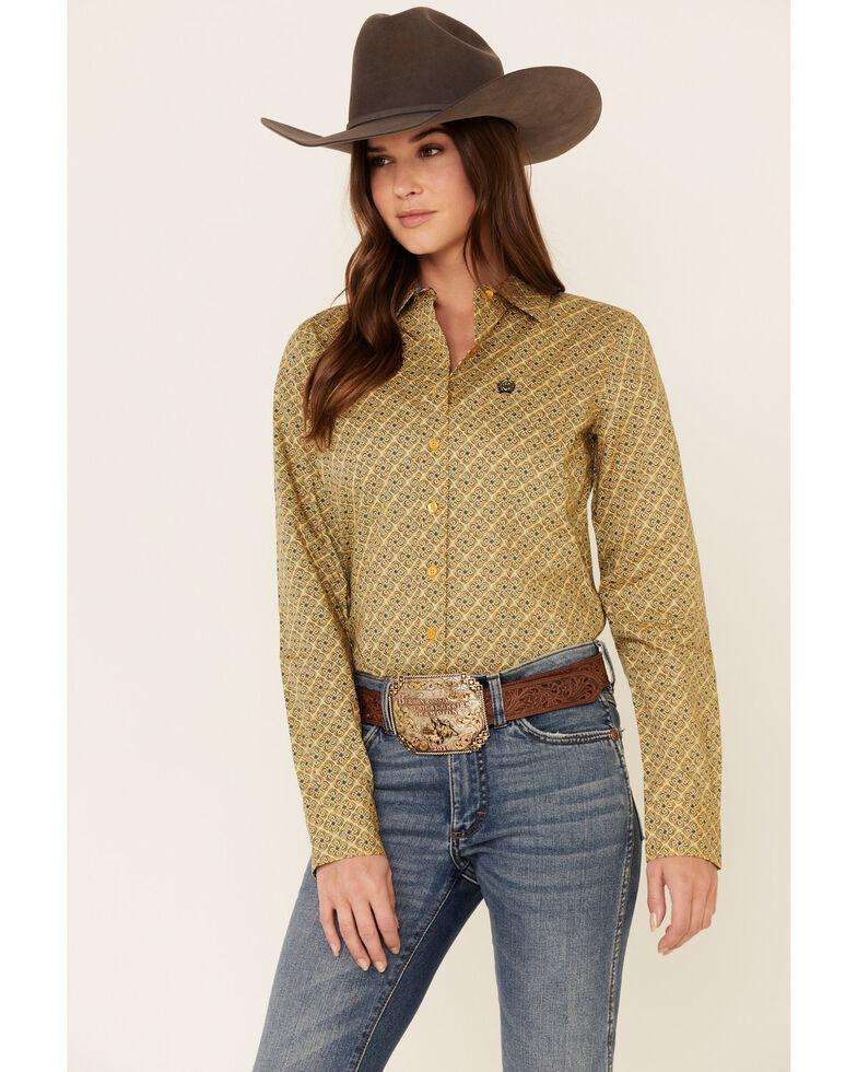 Cinch Women's Yellow Tile Print Button Front Long Sleeve Western Shirt , Yellow, hi-res