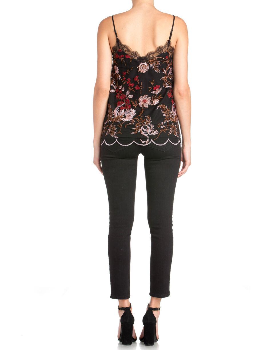 Miss Me Women's Floral Embroidered Scalloped Hem Tank, Black, hi-res