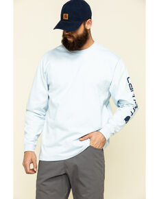 Carhartt Men's Blue Signature Sleeve Logo Long Sleeve Work T-Shirt , Blue, hi-res