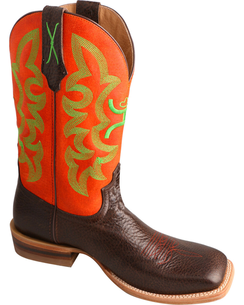 HOOey by Twisted X Men's Neon Square Toe Western Boots, Chocolate, hi-res
