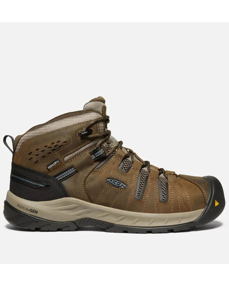 Keen Men's Flint II Waterproof Work Boots - Steel Toe, Brown, hi-res