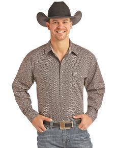 Panhandle Select Men's Tan Poplin Print Long Sleeve Western Shirt - Big , Tan, hi-res