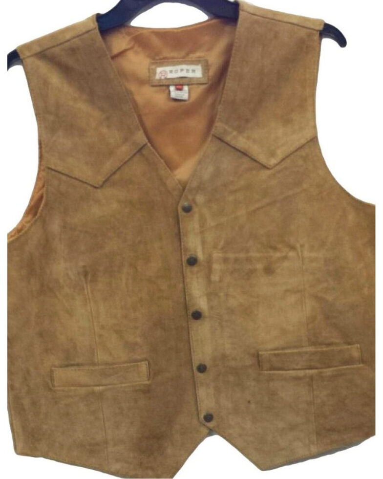 Roper Men's Silky Cow Suede Vest, Brown, hi-res