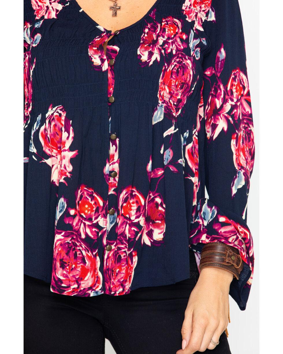 Shyanne Women's Floral Shirttail Hem Top , Dark Blue, hi-res
