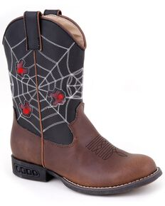 Roper Kid's Light Up Spider Web Western Boots, Brown, hi-res