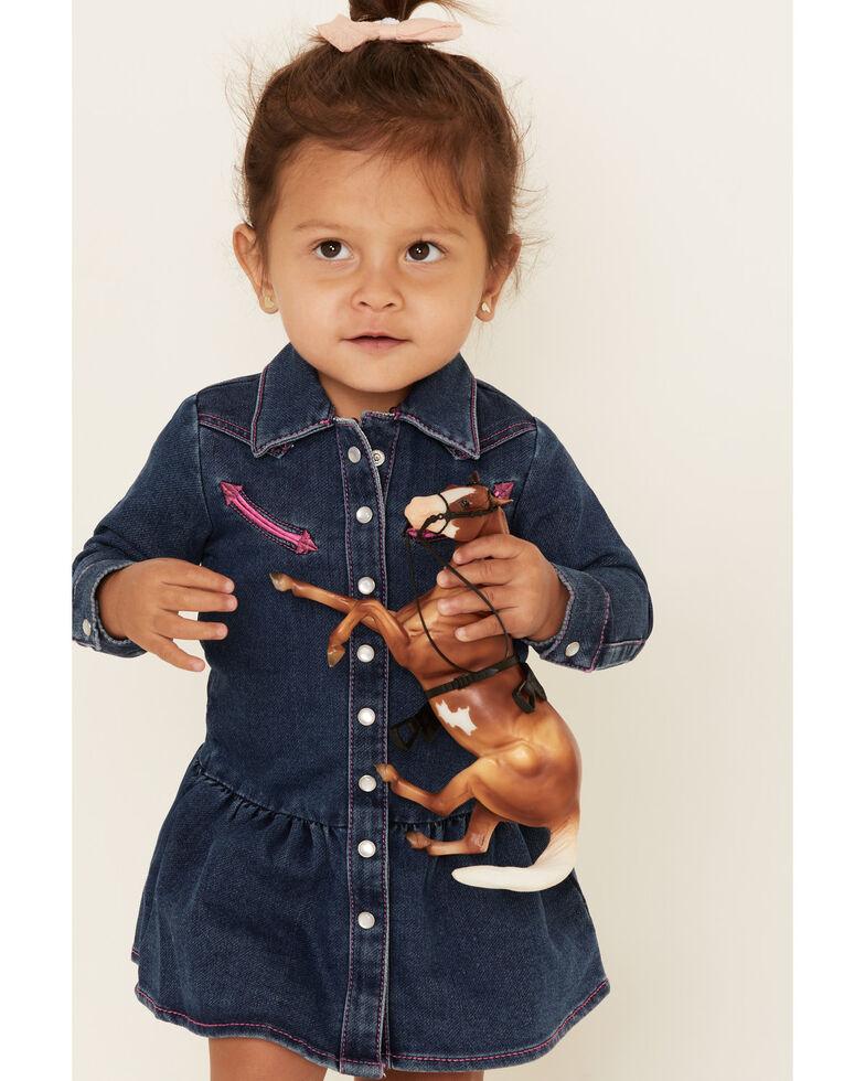Wrangler Infant Girls' Blue Denim Shirt Dress, Blue, hi-res