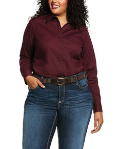 Ariat Women's Burgundy Kirby Stretch Long Sleeve Western Shirt  - Plus, Burgundy, hi-res