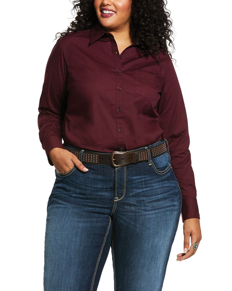 Ariat Women's Burgundy Kirby Stretch Long Sleeve Western Shirt  - Plus, Burgundy, hi-res