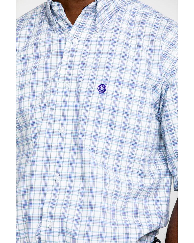 George Strait by Wrangler Men's Turquoise Med Plaid Short Sleeve Western Shirt , Turquoise, hi-res