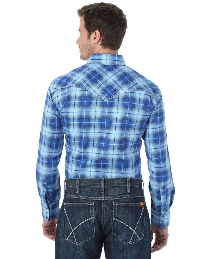 Wrangler Men's FR Blue Plaid Long Sleeve Work Shirt, Blue, hi-res