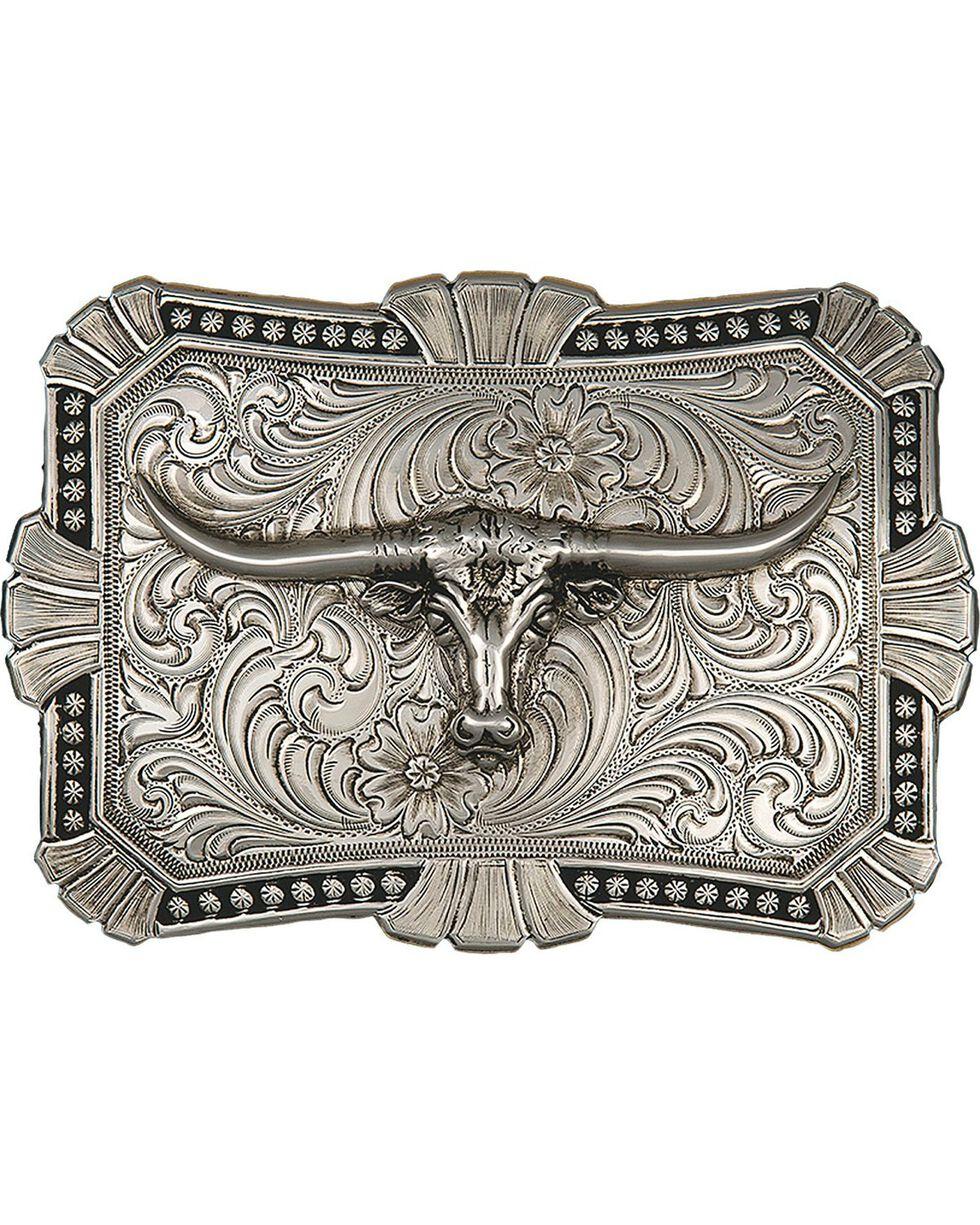 Montana Silversmiths Engraved Longhorn Buckle, Silver, hi-res