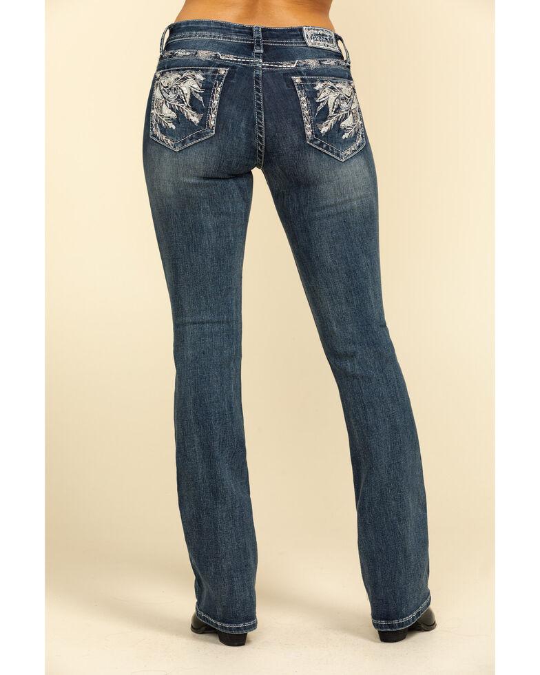 """Grace in LA Women's Medium Feather 34"""" Bootcut Jeans , Blue, hi-res"""