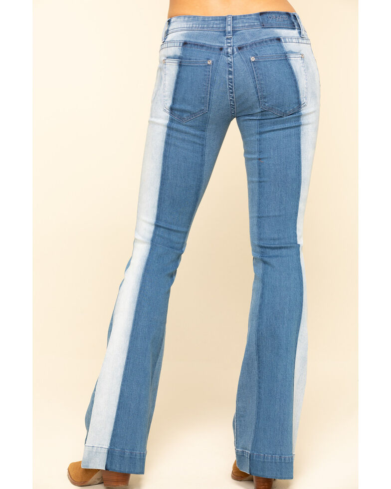 Grace in LA Women's Medium Wash Thick Stripe Flare Jeans , Blue, hi-res