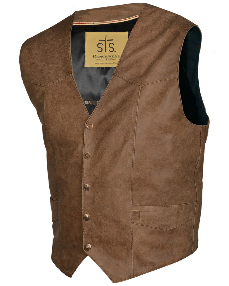 STS Ranchwear Men's Antique Brown Leather Chisum Vest , Brown, hi-res